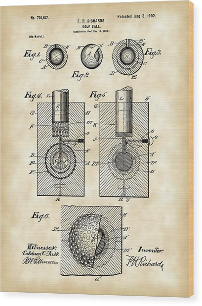 Golf Ball Patent 1902 - Vintage Wood Print