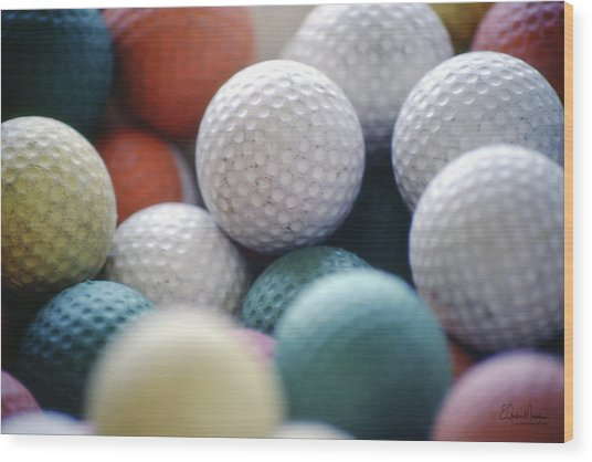 Golf Balls Wood Print