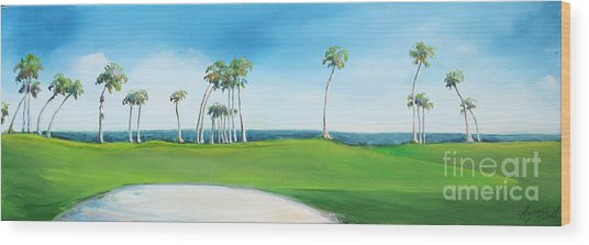 Golf Course With Palms Wood Print by Michele Hollister - for Nancy Asbell
