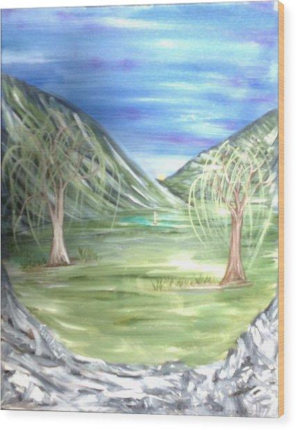 Golfing In Glacier Wood Print