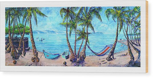 Golfo Dulce Beach Scene Wood Print