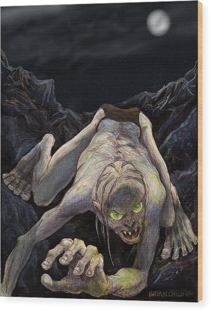 Gollum Descends Wood Print by Brian Child