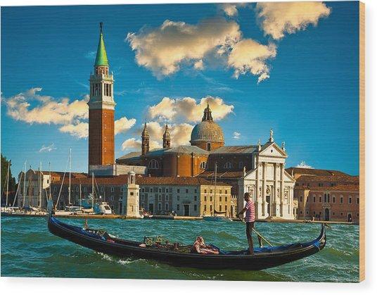 Gondola And San Giorgio Maggiore Wood Print
