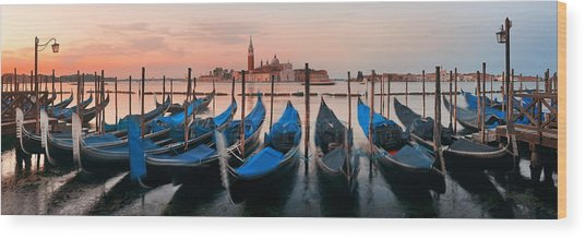 Wood Print featuring the photograph Gondola And San Giorgio Maggiore Island Panorama by Songquan Deng