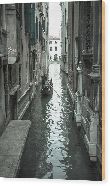 Gondola On Venice Canal Wood Print