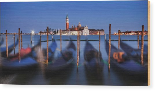Wood Print featuring the photograph Gondolas And San Giorgio Maggiore At Night - Venice by Barry O Carroll