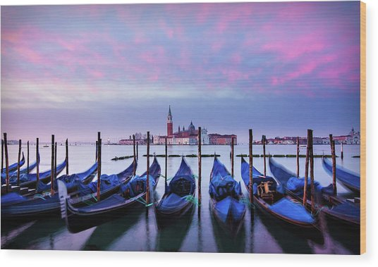 Wood Print featuring the photograph Gondolas At Dawn - Venice by Barry O Carroll