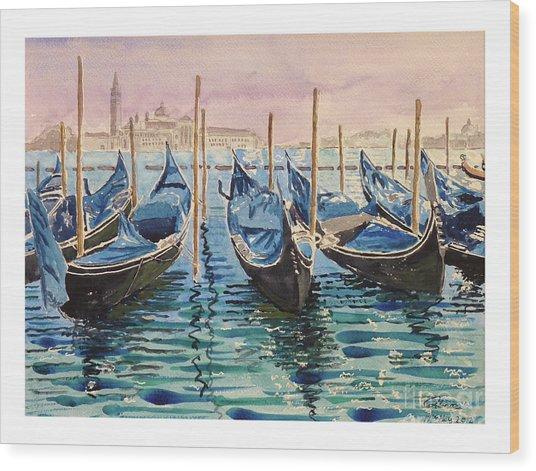 Gondolas At The Pier Venice Wood Print