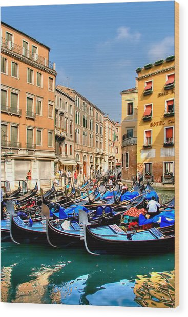 Gondolas In The Square Wood Print