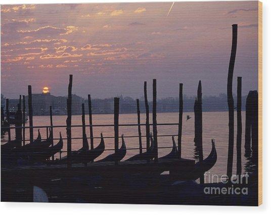 Gondolas In Venice At Sunrise Wood Print by Michael Henderson