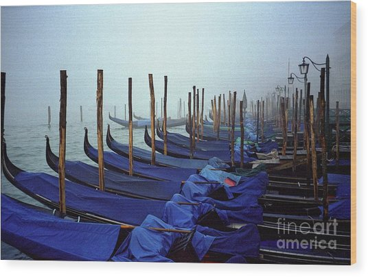 Gondolas In Venice In The Morning Wood Print by Michael Henderson
