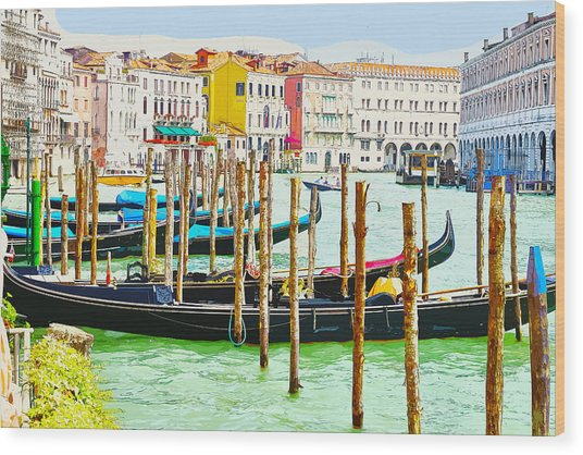 Gondolas On The Grand Canal Venice Italy Wood Print