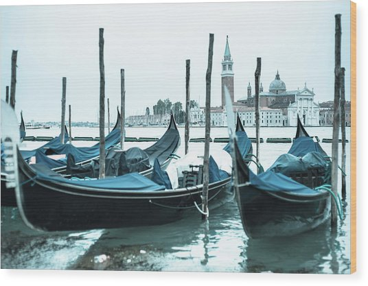 Gondolas On The Venice Lagoon Wood Print