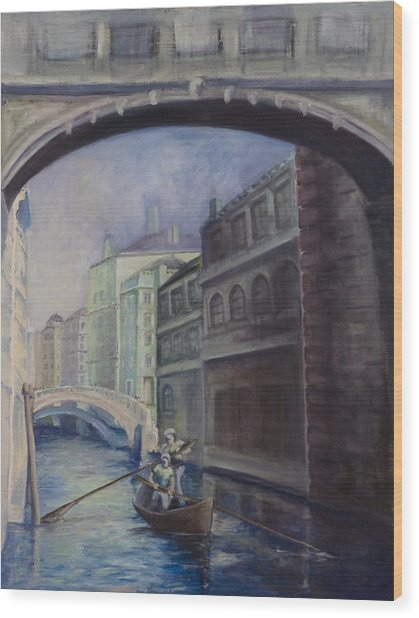 Gondoliers Wood Print by Victoria  Shea