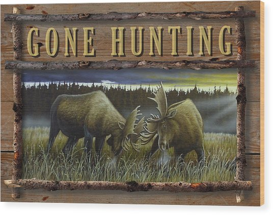 Gone Hunting - Locked At Lac Seul Wood Print