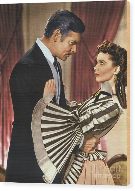 Gone With The Wind - 1939 - Completely Retouched In Color Wood Print