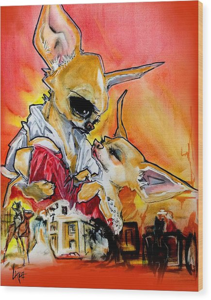 Gone With The Wind Chihuahuas Caricature Art Print Wood Print