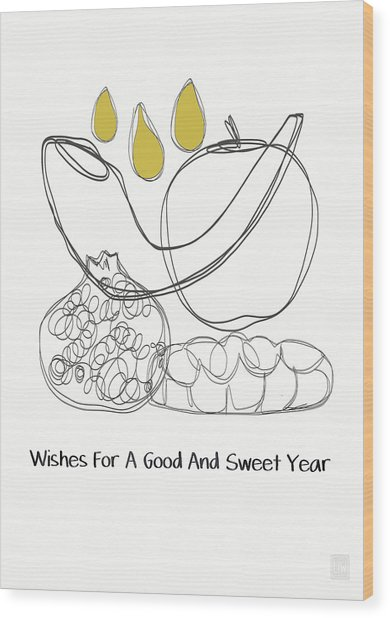 Good And Sweet Year- Art By Linda Woods Wood Print