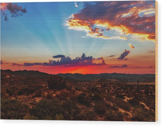 Good Evening Arizona Wood Print