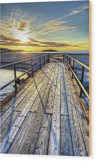 Good Harbor Beach Footbridge Shadows Wood Print