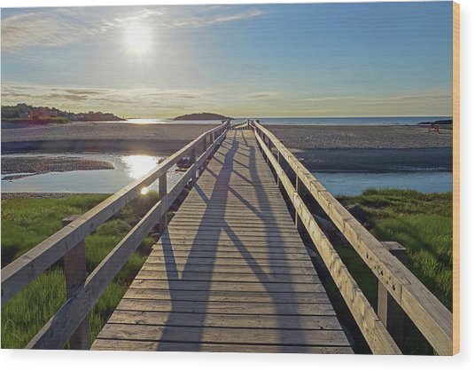 Good Harbor Beach Footbridge Sunny Shadow Wood Print