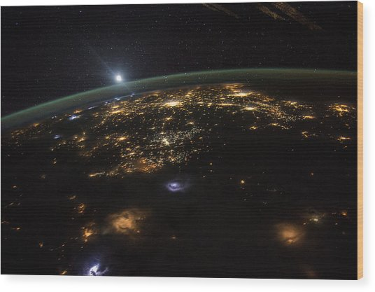 Good Morning From The International Space Station Wood Print