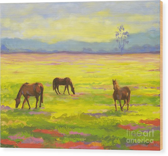 Good Morning Horses Wood Print by Amy Welborn