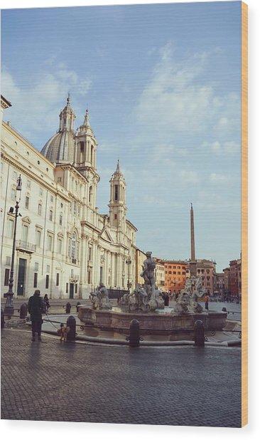 Good Morning Piazza Navona Wood Print by JAMART Photography