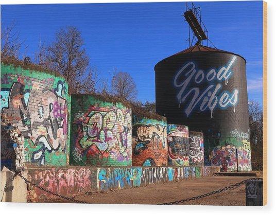 Good Vibes Asheville North Carolina Wood Print