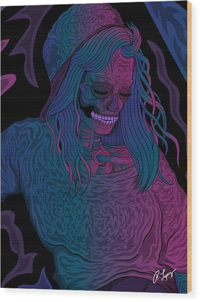 Good Vibes Skelegirl Wood Print