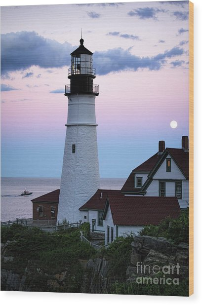 Goodnight Moon, Goodnight Lighthouse  -98588 Wood Print