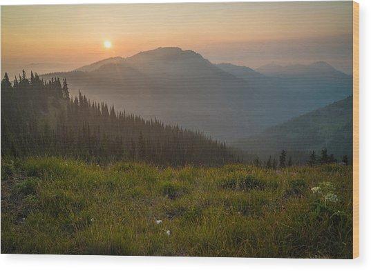 Goodnight Mountains Wood Print