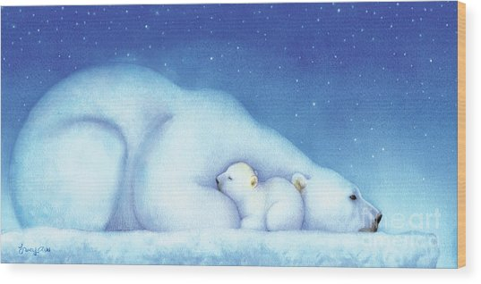 Arctic Bears, Goodnight Nanook Wood Print