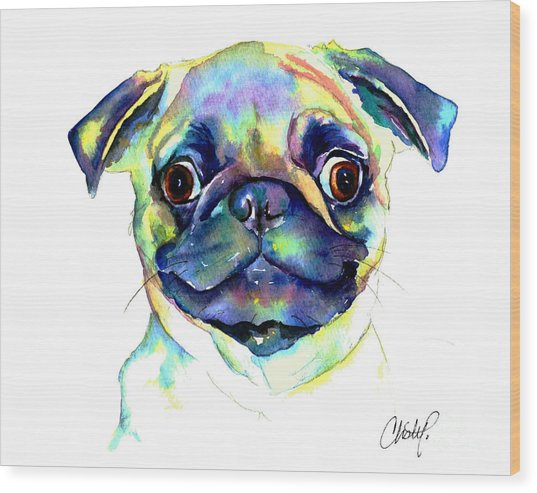 Google Eyed Pug Wood Print
