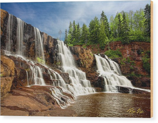 Wood Print featuring the photograph Gooseberry Falls by Rikk Flohr