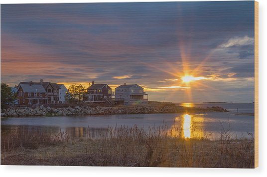 Goosefare Brook Sunrise - Saco Maine Wood Print