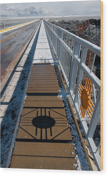 Gorge Bridge Zia Symbol Wood Print