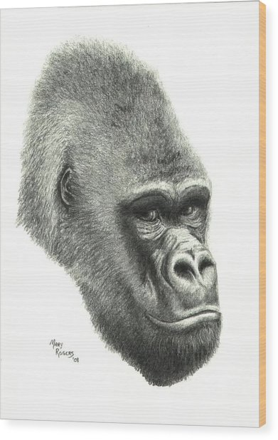 Gorilla Wood Print by Mary Rogers