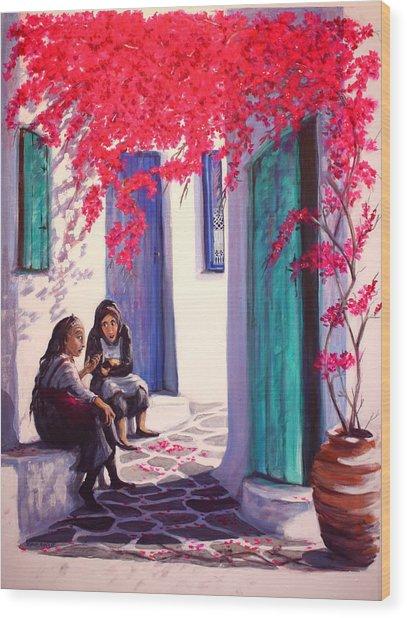 Gossips Wood Print by Yvonne Ayoub