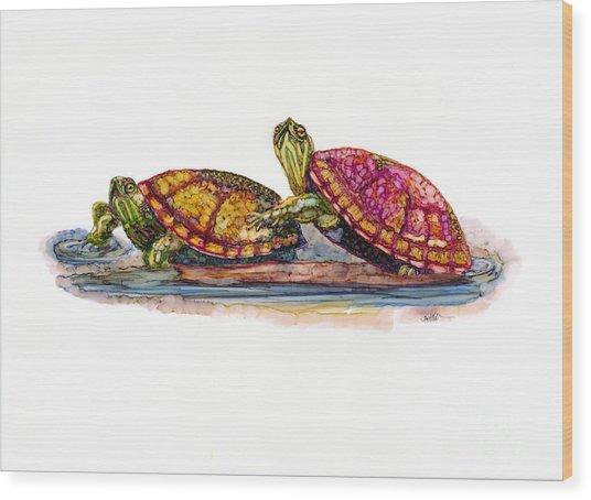 Spring Turtles Wood Print