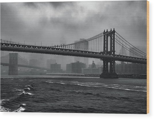 Manhattan Bridge In A Storm Wood Print