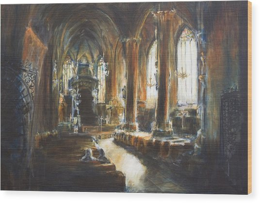 Gothic Church Wood Print by Nik Helbig
