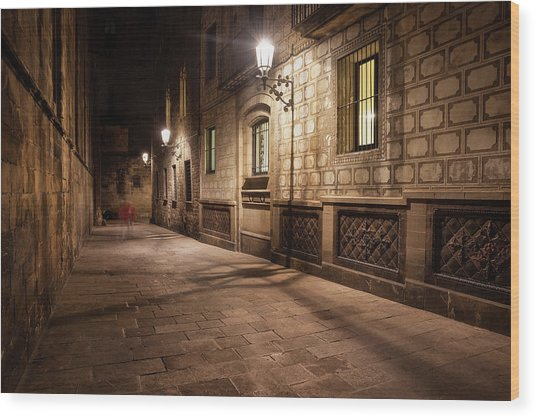 Gothic Quarter Of Barcelona At Night Wood Print by Artur Bogacki