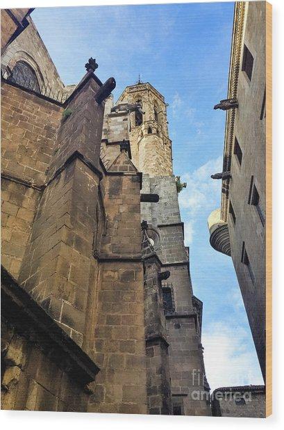 Gothic Quarter Stone Buildings  Wood Print