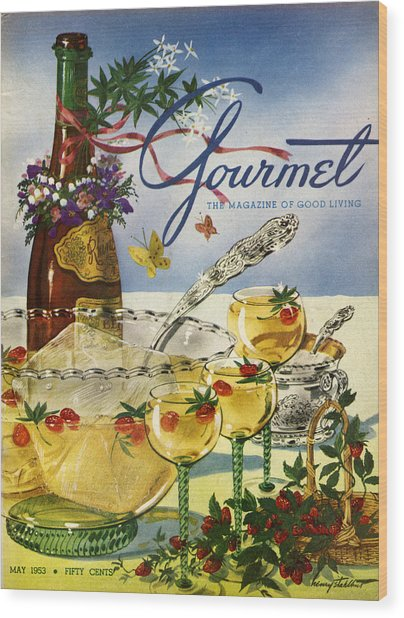 Gourmet Cover Featuring A Bowl And Glasses Wood Print