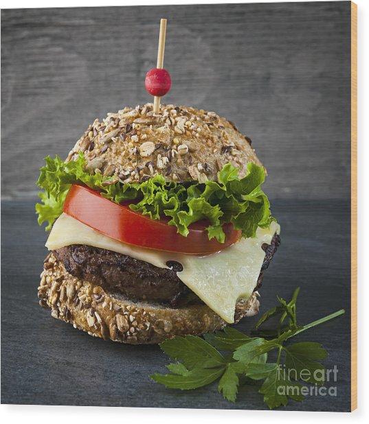 Gourmet Hamburger Wood Print