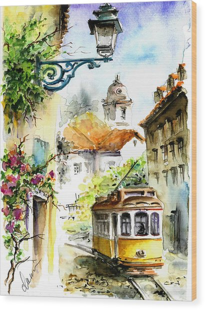Graca Lisbon Tram Color Wood Print