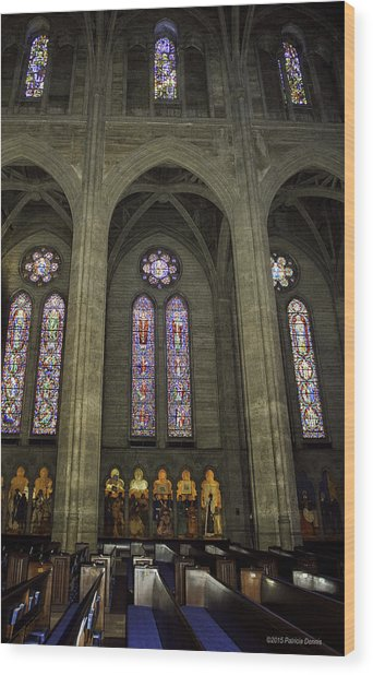 Grace Cathedral Stained Windows Wood Print