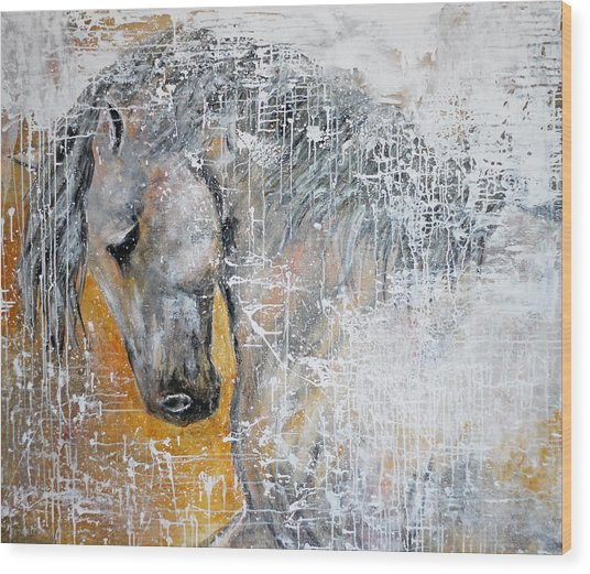 Abstract Horse Painting Graceful Beauty Wood Print