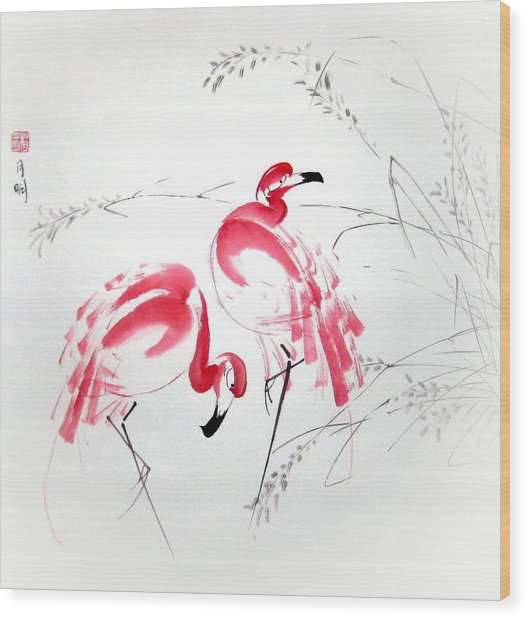 Graceful Pair Wood Print by Ming Yeung